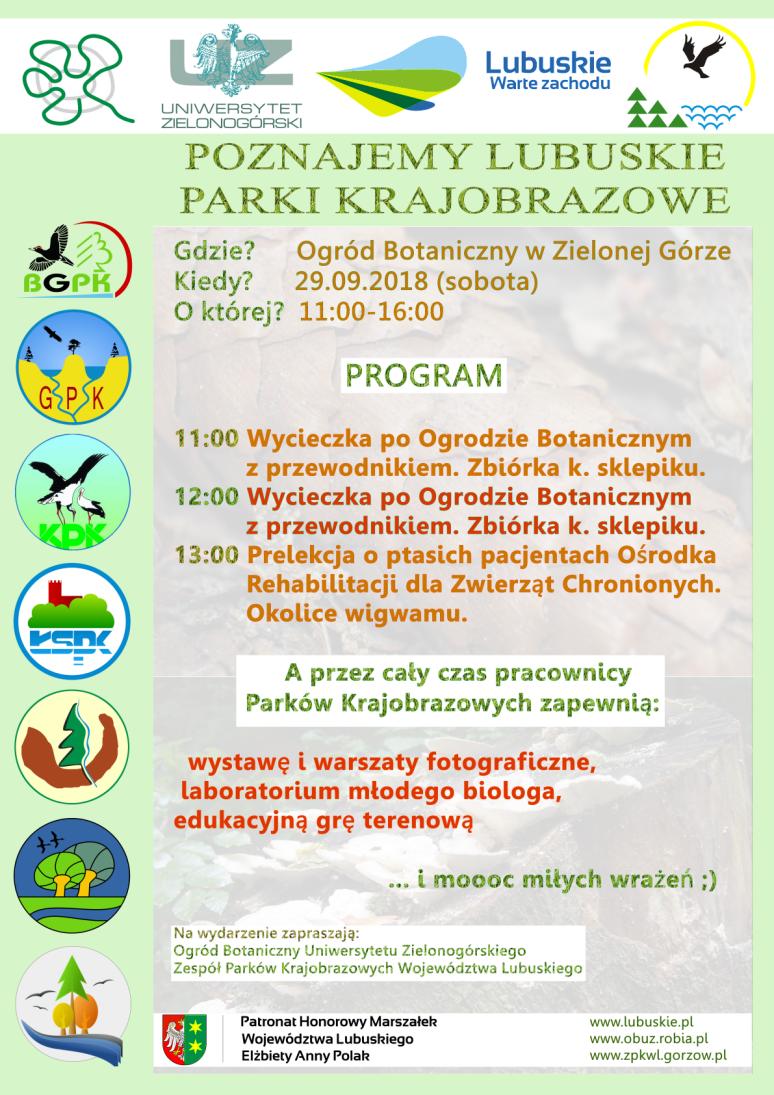 """Plakat """"Poznajemy Lubuskie Parki Krajobrazowe"""""""